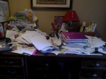 My real desk after my last revision. Please don't look too closely! But it's too funny not to share. See why I rely on the lap desk?