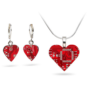 circuit board jewelry heart